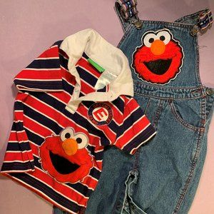 Elmo Sesame Street Construction Overalls Set 18 M